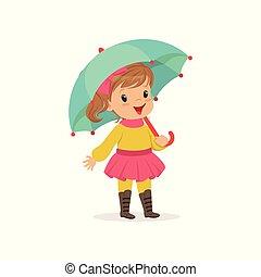 Sweet little girl in warm clothing walking with umbrella, cute kid enjoying fall, autumn kids activity vector Illustration