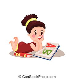 Sweet little girl lying on her stomach and reading a book, education and knowledge concept, colorful character vector Illustration