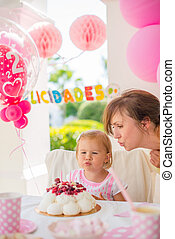 Sweet Little Girl on Her Birthday Party - Sweet Cute Girl on...