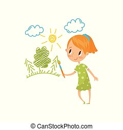 Sweet little girl painting nature with color paints and brush on the wall, young artist, kids activity routine vector Illustration on a white background