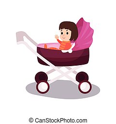Sweet little girl sitting in a purple modern baby stroller, transporting of small children with comfort cartoon vector
