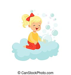 Sweet little girl sitting on cloud playing with soap bubbles, kids imagination and dreams vector illustration