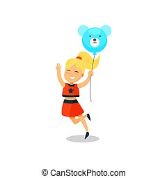 Sweet little girl with balloon in the shape of teddy bear vector Illustration on a white background