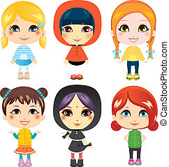 Sweet Little Girls - Six sweet little girls from diverse...