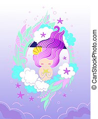 Sweet little mermaid with starfish and long violet hair. Card, print, poster, notebook, cover.