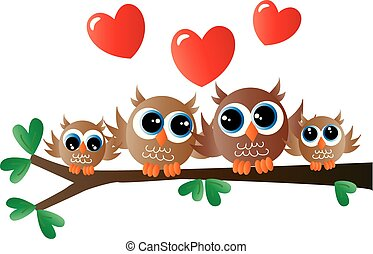 sweet little owl family sitting on a branch