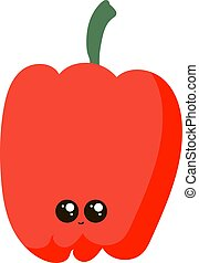 Sweet little pepper, illustration, vector on white background.