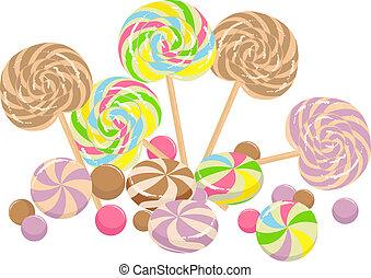 sweet lollipops - colorful illustration with sweet lollipops...