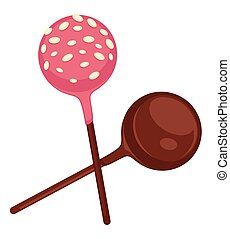 Sweet lollipops covered with chocolate and strawberry caramel