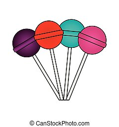 sweet lollipops isolated icon