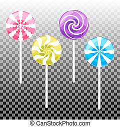 Sweet lollypop candy set. Colorful sugar canes.