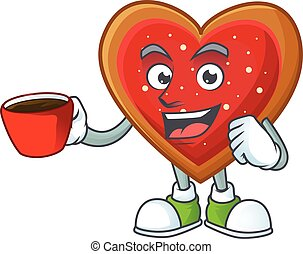 Sweet love cookies cartoon character with a cup of coffee