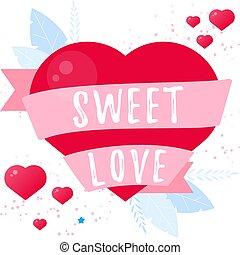 Sweet love. Valentine day card. Vector flat wedding concept.