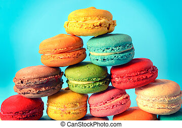 Sweet macaroon cookies - Group of traditional French...