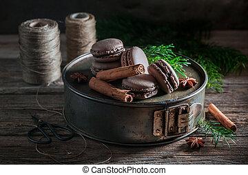 Sweet macaroons with cinnamon and chocolate for Christmas