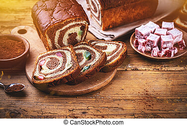 Sweet marbled brioche plait with Turkish delight and ...