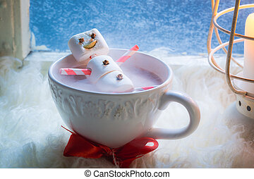 Sweet marshmallows snowman for Christmas