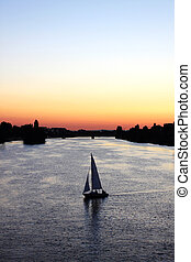Sweet memory in Heidelberg - sunset, old river, sailing...