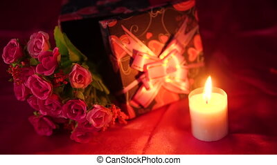 Sweet moment Valentine day with gift boxes and bouquet...