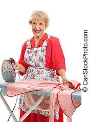 Sweet Old Lady Ironing