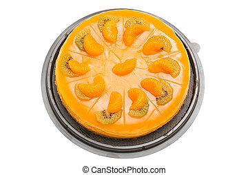 Sweet orange cake , isolate on white background