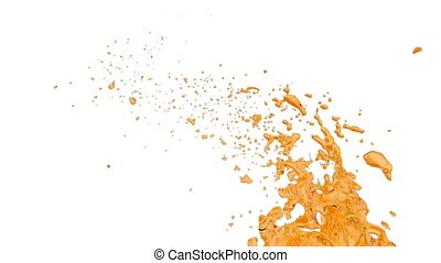 sweet orange liquid flow fly in air. Shot of sugar liquid...