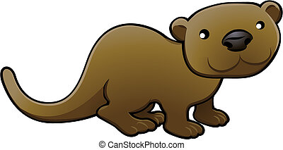 Sweet Otter Vector Illustration - A vector illustration of a...