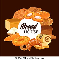 Sweet pastry and bread round vector banner - Pastry and ...