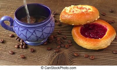 Sweet pastry with fruit jam