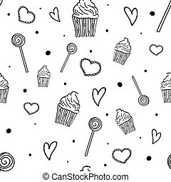 Sweet pattern. Seamless pattern with sweets, cupcakes and hearts. Hand drawn party background. Vector illustration