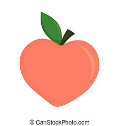 sweet peach isolated on white, vector illustration