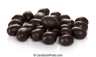 Sweet peanuts in chocolate isolated on white.