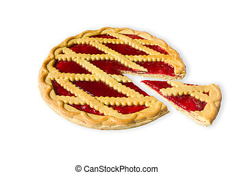 pie with cherry jam - sweet pie with cherry jam isolated on...