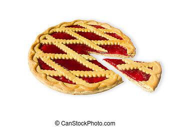 pie with cherry jam - sweet pie with cherry jam isolated on ...