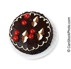 sweet pie with decorated cherry