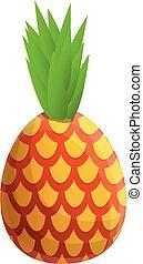 Sweet pineapple icon, cartoon style