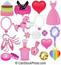 Sweet Pink Princess Set for Diva - A colorful set of Vector...