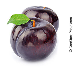Sweet plums fruit on white closeup