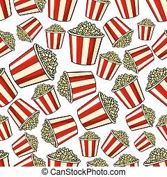Sweet popcorn seamless pattern background
