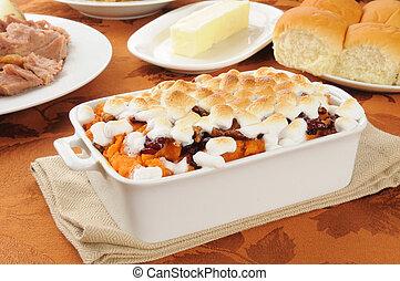 Sweet porato casserole with diner rolls - Sweet potato...