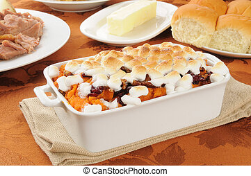 Sweet porato casserole with diner rolls - Sweet potato ...
