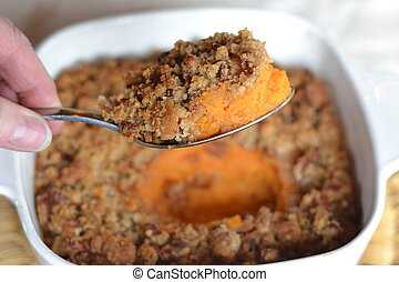 Sweet Potato Casserole with crunchy pecan, brown sugar and ...