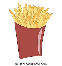 Sweet potato fries in paper box. - Sweet potato fries in...