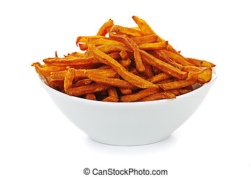 Sweet potato fries - Sweet potato or yam fries in a bowl ...