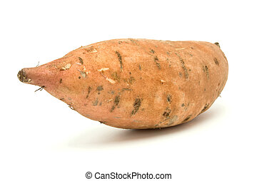 Sweet Potato from low viewpoint isolated against white background.