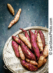sweet potato in a basket