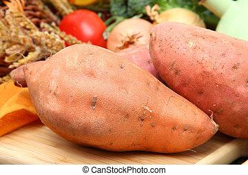 Sweet potato in kitchen.