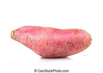 Sweet Potato close up, isolated on white background.
