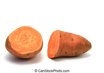 Sweet potato or batata (Ipomoea batatas) isolated in front...
