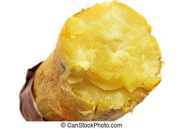 Sweet Potato - A steamed sweet potato peeled into half on...